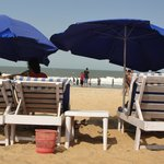 free sunbeds on the beach..