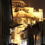 Hagia Sophia from front door of Zeynep Sultan at night
