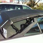 Damaged car hood