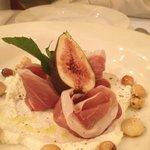 Entree of figs, proscuitto and goat curd - highly recmmended