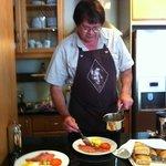 Johan preparing our eggs