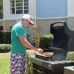Grilling poolside- a fun way to do lunch!