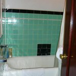 """art deco"" bathroom, with no counter space and intermittent hot water"