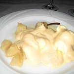 Dessert: Poached pears with flambe white sauce