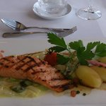 salmon embeded in asparagus