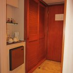 Room entrance with minibar