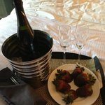 chocolate covered strawberries and champagne...ROOM SERVICE!