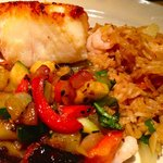 Grilled Sea Bass with a side of Fried Rice and Vegetable Ratatouille