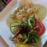 Chicken in gorgonzola cheese sauce with rice - very nice