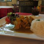Chicken in curry sauce with rice = yum