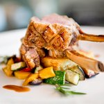 Lamb cutlets with vegetable caponata