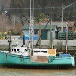 Lobster boat at low tide
