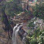 Bungee swing near the waterfall