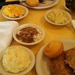 BBQ turkey ribs/Fried Pork Chops. sides-macaroni, cabbage, greens, potato salad, rice n gravy