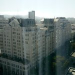 From outside the hotel room overlooking Van Ness Avenue