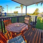 Waterfront One Bedroom Cabin Deck with BBQ
