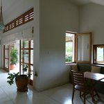 The living room with breakfast area