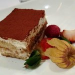 Delicious tiramisu at Grappa's Cellar