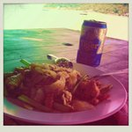Food example, fried noodles and a cold beer