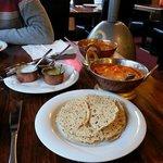 Paneer butter masala, Butter chicken, rice & naan