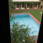 View of the courtyard and pool from my room.