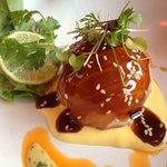salmon ball filled with crab meat and guacamole