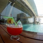 Pool with overly sweet cocktail