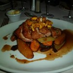 Gressingham Duck Breast Roasted on a bed of roots with caramelised clementine