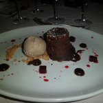 Chocolate Fondant Blackcurrant jelly and chestnut ice cream