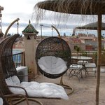 The roof terrace overlooking the Atlas mountains