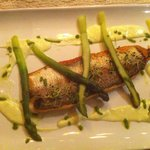 Lake fish with asparagus