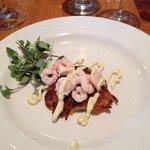 Maine shrimp on potato appetizer
