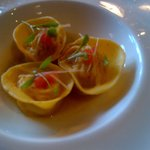 •	Ravioli of Brixham Crab with lemongrass and ginger sauce