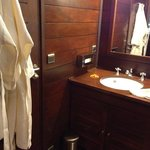 washbasin and bathrobes