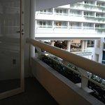 Balcony of room 6042 looking into airport atrium