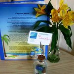 fresh flowers, info about Cayucos and the motel