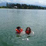 Grandkids swimming in Flathead Lake