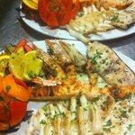 fish churrasco: freshly grilled sea bass, calamari, salmon, sword fish, king prawns
