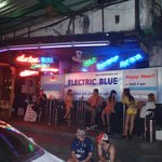 Club Electric Blue opposite hotel entrance.