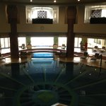 View from stairs to the indoor pool