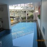 The swimming pool and dining area