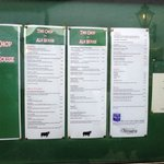 Menu & Opening Hours - On wall outside