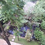 Views looking down over gardens & fish pond