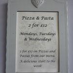 Pizza and Pasta 2 for £12 Monday - Wednesday