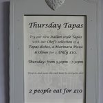 Thursday Tapas - £10 for two people - 5.30 - 7.30pm