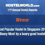 We won! Singapore's Most Popular Hostel 2013 award =)