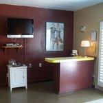 The kitchen-y area in the Honeymoon Hideaway
