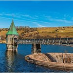 Pontsticill Reservoir with Mountain Railroad in background