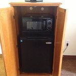 microwave, frig and a one cup coffee maker