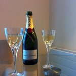 enjoying champagne in our room..